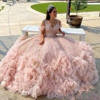 Sparkly Rose Gold Sequined Tulle Spaghetti Strap Quinceanera Dresses Ball Gown Beading Flowers Ruched Sweet 15 Prom Party Dress