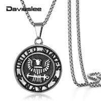Pendant Necklaces Charm Necklace For Men Stainless Steel United States Army Navy Collectible Gift 18-24 Inch Box Link Chain LKPM147