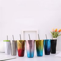 Gradient Tumblers Straw Cup Fashion Stainless Steel Cup Diamond Insulation Coffee Cups with Lid T500761