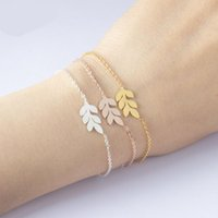 Link, Chain Ethnic Jewelry Stainless Steel Leaf Bracelet Rose Gold Chains Bracelets Women Wedding Charm Branch Pulseras Mujer