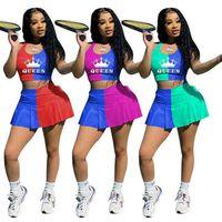6Sets / New Tiktok Womens 스커트 세트 여름 테니스 착용 여왕 편지 조끼 스포츠 브래지어 탑 및 렌더링 반바지 캐주얼 복장 렌더링