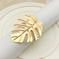 Altın Gümüş Yaprak Peçete Yüzükler Düğün Masa Dekor Napkins Toka Festivali Ziyafet Kahve Masaüstü Dekorasyon Havlu Yüzük GWB10086