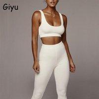 Giyu sexy tracksuit verão outono de malha 2 peças conjunto mulheres 2021 moda magro bodycon esportes terno elegante sólido dois conjuntos vestido