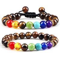Beaded, Strands 2pcs set 7 Chakra Bead Bracelets Natural Tiger Eye Lava Stone Healing Reiki Bracelet For Women Men Fashion Handmade Yoga Jew