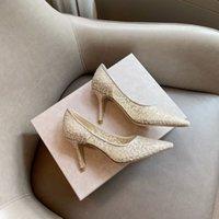 Top Quality Romy 85mm glitter pumps stiletto Heels Bridal shoes womens heel Luxurys Designers Dress shoe ladies Evening wedding heeled fact
