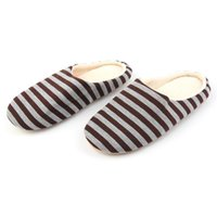 Slippers Winter Women Men Shoes Warm Soft Indoor Floor Striped Cloth Bottom Universal Couple Lovers Plush Home Bath Accessory Set