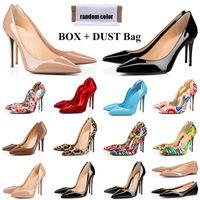 Con caja roja parte inferior tacones zapatos moda diseñador mujer altura tacón alto 8 cm 10 cm 12 cm de manera kate estilos graffiti redondos puntas puntas bombas botas de fondo zapatillas de deporte