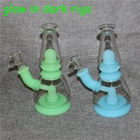 Glow in the dark hookah shisha Removable Silicone Bongs Dab Rigs With Bowl nectar collectors