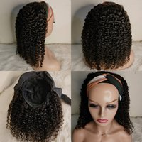 Headband Wigs 100% Human Hair Affordable Scarf Wig Virgin Remy Brazilian Curly for African American Women