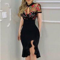 Sexy Bodycon Dress For Women Embroidery Short Sleeve Sides Split Ruffles Dresses Cocktail Party Summer Casual