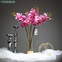 INDIGO- 9pcs Purple Leopard Phalaenopsis Latex Coating Orchid Real Touch Artificial Flower Wedding Party Decoration Decorative Flowers & Wre