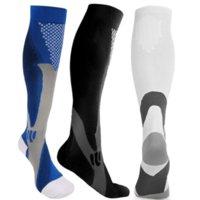 Soulager les chaussettes hautes du genou de la compression Sport en plein air Courir Soins infirmiers Marathon Bas pour Femmes Hommes Blanc Bleu Bleu