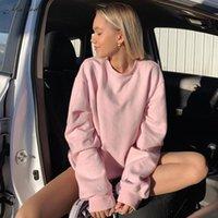 Macheda осень зима теплые моды толстовки женщин длинные вывески O шеи одежда леди улица повседневная сплошные пуловеры 2021 женские толстовки
