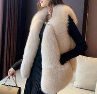 Faux Fur Vests Women Winter Warm Solid Large Size Fluffy Jacket Sleeveless Elegant Top Coats Women's Artificial Fur Coat