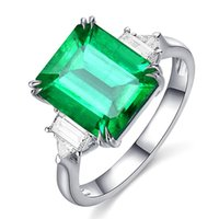 Cluster Rings Square Emerald Gemstones Green Crystal For Women Zircon Diamonds White Gold Sterling Silver925 Argent Jewelry Bijoux Bague