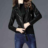 Nueva chaqueta de cuero para mujeres Ropa corta coreana PU de cuero Velvet Pink Black Biker Chaqueta más tamaño Perfecto Cuir Femme 210412