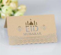 Eid Mubarak Party Seat Card 100 stks / partij Ramadan Papieren Tafel Uitnodiging Holle Place Kaarten Moslim Islamitische Festival Decor GGA4687