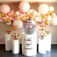 3 pçs / set) Decorações de festa de casamento Claro Acrílico Branco Redondo Tubo de Flor Flor de Flor Plástico Plinth QQ281 Decoração