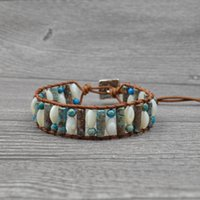 Tennis Vintage Natural Stone Wrap Bracelet Women Fashion Tube Shape For Single Layer Shell Leather Beaded