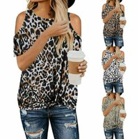 Ladies Leopard Cold Shoulder Short Sleeve T Shirt Casual Loose Tunic Blouse Top