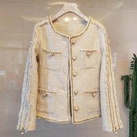 Women's Jackets Plaid Vintage Tweed Coat Women O-Neck Long Sleeve Luxury Woolen Coats Pearls Button Tassel Outwear Autumn Metal K9707