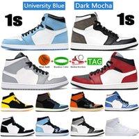 Yüksek Kalite 1 1 Süt Üniversitesi Mavi Basketbol Ayakkabıları Koyu Mocha Orta Işık Duman Gri Gümüş Toe UNC Beyaz Gölge Erkek Kadın Sneakers
