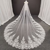 Real Photos Long Lace Bridal with Comb 3 Meters 1 Layer Cathedral White Iovry Veil Wedding Accessories 2021