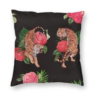 Cushion Decorative Pillow Royal Tiger Flowers Pattern Cushion Cover Sofa Home Decorative Tropical Wild Animal Cat Tattoo Square Throw Case 4