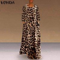 보헤미안 긴 맥시 드레스 여성 슬리브 레오파드 인쇄 Vestidos 숙녀 캐주얼 파티 Sundress 느슨한 가운 Femme Dresses