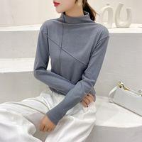 Kadın T-shirt Ctrllock Turtleneck Uzun Kollu Ince Kadın T-Shirt Sıcak Dip Gömlek Katı Renk Temel Kalın Kadın Tops Wint
