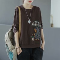 Sudaderas con capucha para mujer Sudaderas de dibujos animados Bordado Cuello de manga larga camiseta de manga suelta coreana Suéter delgada Autu