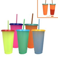 Creative 24oz Temperature Color changing Magic Cup Reusable Magic Coffee Mug Plastic Drinking Tumblers with Lid and Straw 700ml mugs