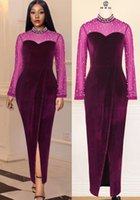 2021 Plus Size Arabic Aso Ebi Purple Sexy Velvet Prom Dresses Sheer Neck Pearls Long Sleeves Evening Formal Party Second Reception Bridesmaid Gowns Dress ZJ770