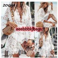 Обложка Zogaa кружева полые вязание крючком бикини женщин купальный костюм купальник цветочные белые тунические пляжные мини-платье саронг обертка пляжная одежда1