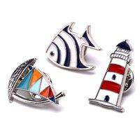 PINS, BROCHES Moda Faro de velero Pescado Hombre Mujer Mujer Azul Red Helm Esmalte Pinzas de solapa y regalos de joyería
