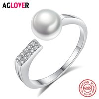 Cluster Rings AGLOVER Charm 925 Silver Disc Ring Resizable 7.5MM Natural Freshwater Pearls Jewelry Women Wedding Lady Gift High Guality