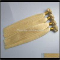 Örgüler Büyük İndirim Sarışın Renk Atkı 100 İnsan Saç Düz Dalga ile 100g Bundle 300g Lot JHGNA PU7O9