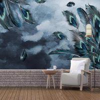 Пользовательские 3D обои голубое павлин перо искусство живопись гостиной спальня исследование фона стены украшения настенные стены водонепроницаемые обои