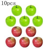 10pcs 큰 인공 과일 시뮬레이션 가짜 붉은 녹색 사과 부엌 장식 공예 첨탑 소품 파티 장식