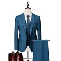 Men's Suits & Blazers (Jackets+Vest+Pants) 2021 High Quality Business Blazers  Wedding Groom's Dress Three-piece Suit Man Tuxedo