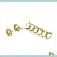 Apri volti Design Design Grillz Cap Gold Tone Tono Singolo Denti Denti Griglia Gilli Gilli Hip Jewelry Etarn Griglie dentali ONIXR