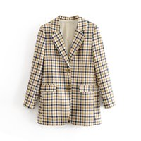 Jacket Female Chaqueta1 Blazers Long Sleeve Buttons Office Warm Coat Ladies Pockets Single Breasted Casual Fashion Plaid Women