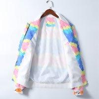 Мода Pattern Print Мужская куртка с длинным рукавом Zipper Thipper Slim Fit Высококачественная ветровка Мужчины Мужчины Зимние зимние Универсальные Одежда Тонкие Пальто M-3XL