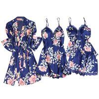 Women's Sleepwear Bohemian Sexy Wireless Rimless Robe Pajamas Lace Nightdress Silk Underwear Women Sleeveless Gown Sets Vintage