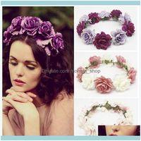 Decorative Flowers Wreaths Festive Home & Garden1Pc Headband Bride Flower Crown Beach Travel Hair Wreath Bohemian Style For Wedding Party Su