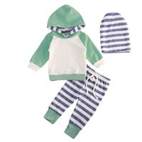 Clothing Sets Baby Girl Clothes Boys Long Sleeve Hooded T-shirts Sweatshirt Striped Leggings Pants Outfits Children's