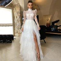 Graceful White Wedding Dresses High Neck Tulle Long Sleeves Split Ruffles Bridal Gowns Floor Length Vestido de novia
