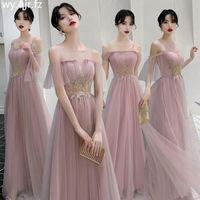 Bridesmaid Dress MNZ-M826#Long Wedding Party Prom Dresses Medium Wholesale Girls Graduation Gown Lace Up Pale Pinkish Gray