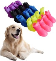 Pet Dog Rain Snow Boots Shoes Booties Candy Colors Rubber Waterproof Anti-Slip