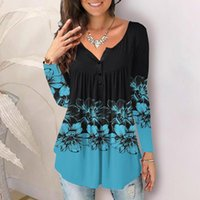 Women's Blouses & Shirts Floral Printed Tops Autumn 2021 Casual Long Sleeve Female Round Neck Button Pleated Tunic D4